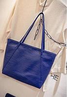 Большая, повседневная женская сумка синего цвета