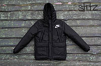 Мужская зимняя черная куртка/парка/пуховик найки/Nike реплика
