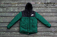 Мужской зимний черно-зеленый пуховик/парка/куртка найки/Nike с капюшоном реплика