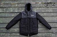 Двухцветная черно-серая мужская зимняя куртка/парка/пуховик найк/Nike реплика