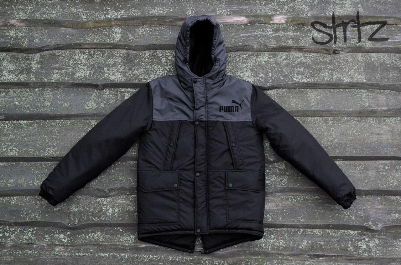 Двухцветная черно-серая мужская зимняя куртка парка пуховик пума Puma d1ba17bcefb
