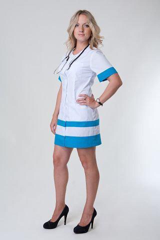 Женский медицинский халат с цветными вставками