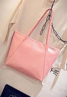 Большая, повседневная женская сумка розового цвета