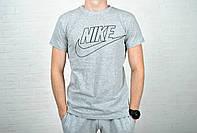 Модная спортивная мужская футболка найк (Nike), серая реплика, фото 1