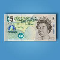 Деньги сувенирные 5 фунтов стерлингов - 80 шт