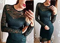 Женское гипюровое платье с длинным рукавом