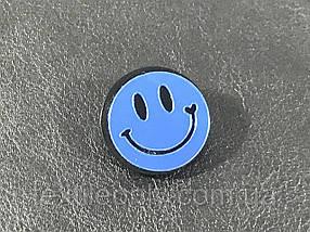 Модный значок / брошь Smile цвет зеркально синий 25 мм
