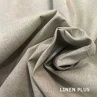 Серая льняная ткань 51% хлопок 49% лен, цвет 330