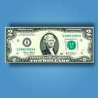 Деньги сувенирные 2 доллара - 80 шт