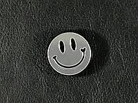 Модный значек / брошь Smile цвет зеркально серебряный 25 мм