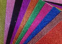 Фоамиран клеевой с глиттером (блёстками), набор 10 листов А4 разного цвета, фото 1