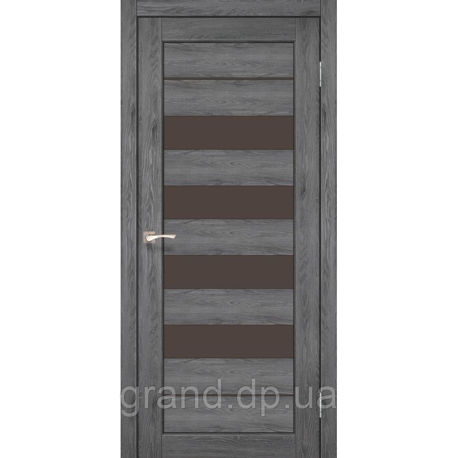 Двери межкомнатные Корфад PIANO DELUXE Модель: PND-03 цвет дуб марсала с бронзовым стеклом
