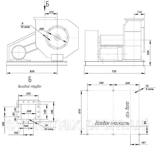 Размеры ВЦ 6-28 №5 исполнение 5