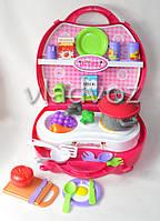 Детская игрушечная кухня, плита для девочки 1 конфорка чемодан mini Kitchen