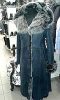 Длинная женская дубленка с капюшоном (натуральная овчина!)
