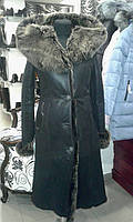 Длинная женская дубленка с капюшоном, натуральная овчина