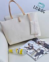Большая вместительная женская сумка, белого цвета