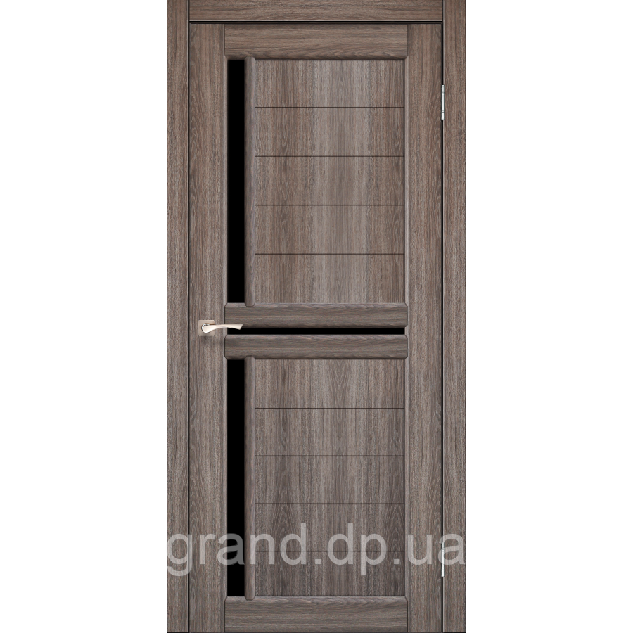 Двери межкомнатные  Корфад SCALEA Модель: SC-04 дуб грей с черным стеклом
