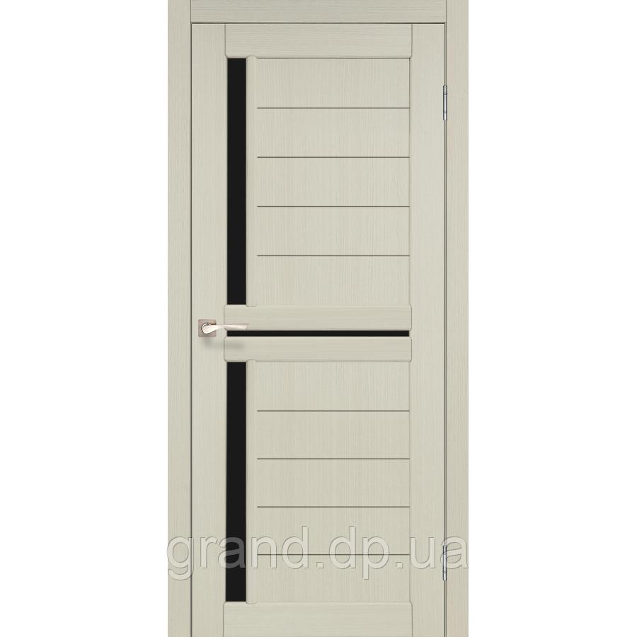 Двери межкомнатные  Корфад SCALEA Модель: SC-04 дуб беленый с черным стеклом