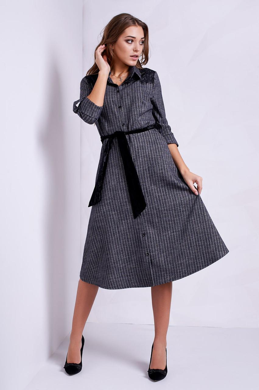 8ada9cab00e697f Очень красивое платье-рубашка офисного стиля в мелкую полоску и кружевом