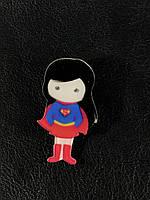 Модный значек / брошь SuperGirl / Супер женщина 25х44 мм