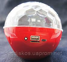 Bluetooth портативная колонка, MP3 плеер, диско-шар, YPS-D108, красная, фото 3