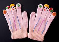 Рукавички для девочек детские с узорами 10-12 лет.
