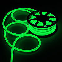 LED неон гибкий 220V 120led/m SMD3528 9,6W IP67 Зелёный