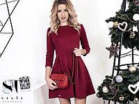 Элегантное платье с расклешенной юбкой материал 3Д трикотаж. Цвет марсала