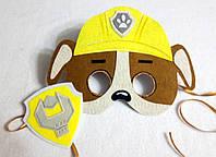 Карнавальная маска + значок английский бульдог Крепыш для сюжетно ролевых детских игр Щенячий патруль