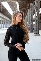 Блуза черная с кружевом 2091