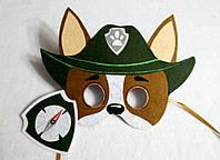 Карнавальная маска + значок Трекер озорной щенок породы чихуахуа для ролевых детских игр Щенячий патруль
