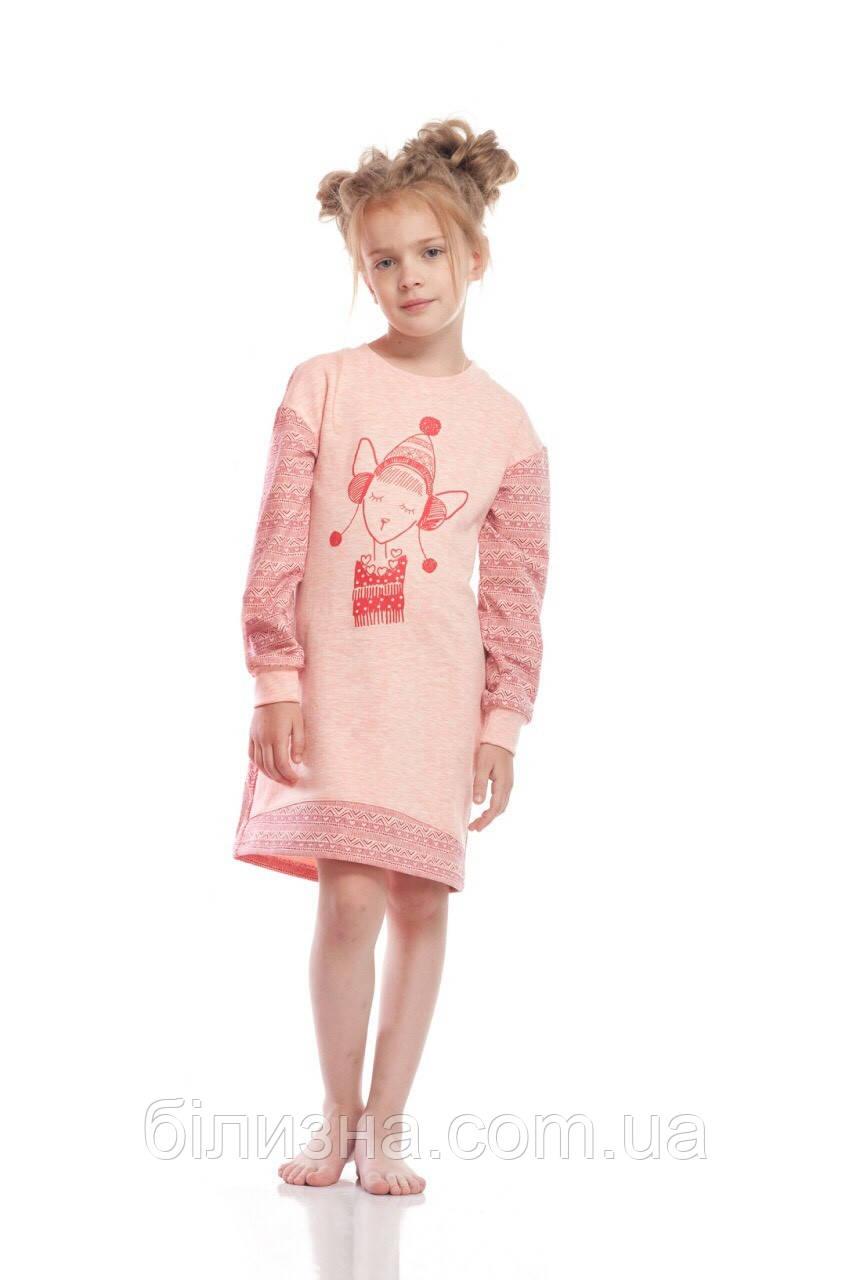 """Сорочка для девочки """"Веселые зверята"""" теплая (рост 128)"""