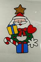 """Новогодняя силиконовая наклейка на окна """"Санта с подарками"""" 20х25 см, 12 шт/пачка"""