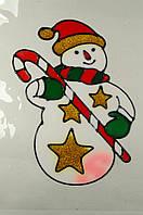 """Новогодняя силиконовая наклейка на окна """"Снеговик в звездах"""" 20х25 см, 12 шт/пачка"""