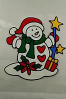 """Новогодняя силиконовая наклейка на окна """"Снеговик"""" 20х25 см, 12 шт/пачка"""