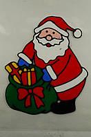 """Новогодняя силиконовая наклейка на окна """"Санта с зеленым мешком"""" 20х25 см, 12 шт/пачка"""