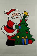 """Новогодняя силиконовая наклейка на окна """"Санта с елкой"""" 20х25 см, 12 шт/пачка"""