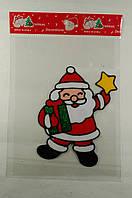 """Новогодняя силиконовая наклейка """"Санта со звездой"""" 15х20 см, 12 шт/пачка"""