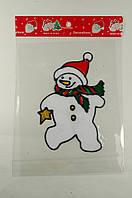 """Новогодняя силиконовая наклейка """"Снеговик со звездой"""" 15х20 см, 12 шт/пачка"""