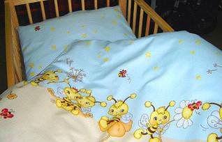 Комплект постельного белья в детскую кроватку Пчелки голубой  из 3-х элементов