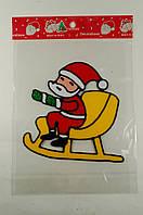 """Новогодняя силиконовая наклейка """"Санта в санях"""" 15х20 см, 12 шт/пачка"""