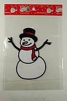"""Новогодняя силиконовая наклейка """"Снеговик в шляпе"""" 15х20 см, 12 шт/пачка"""