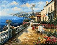 PREMIUM Картина антистресс (40х50см) Кафе с видом на море