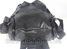 """Рюкзак молодёжный для девочки """"Сова"""" кожзаменитель чёрный , фото 2"""