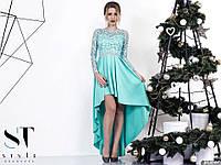 Красивое вечернее платье в пол с асимметричной юбкой, пояс украшен стразами. Цвет мята