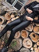 Кожаные женские облегающие лосины брюки с карманами чёрные 42 44 46 48 50 52, фото 1