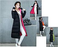 Женское двухцветное зимнее пальто пуховик парка с капюшоном..
