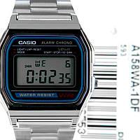 Мужские наручные часы Casio a158wa-1df серебристые, фото 1