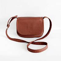 Женская коричневая сумка на плече удобная и красивая кросс-боди М55-41